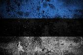 Grunge flag of Estonia with capital in Tallinn — Stock Photo