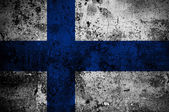 Grunge flag of Finland with capital in Helsinki — Stock Photo
