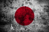 Grunge flag of Japan with capital in Tokyo — Stock Photo