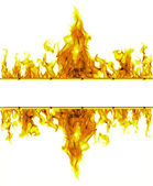 Fire flames frame on white background — Stock Photo