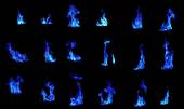 Blue flame compilation on black background — Stock Photo