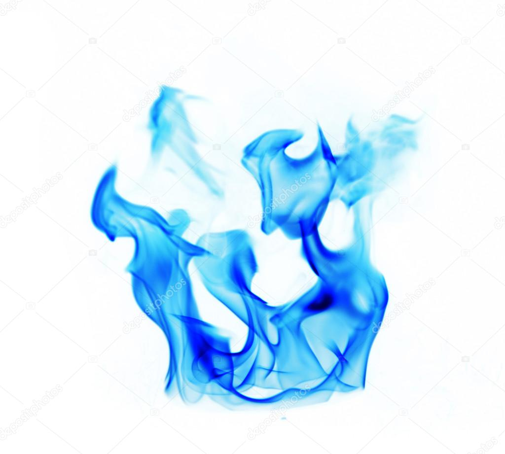 blue fire flames on white background � stock photo