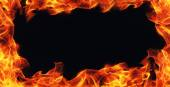 Burning fire flame frame on black background — Stock Photo