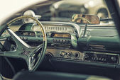 Sleza, Poland, August 15, 2015: Close up on old vintage car steering wheel and cockpit on  Motorclassic show on August 15, 2015 in the Poland — Stock Photo