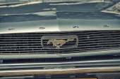 Sleza, Poland, August 15, 2015: Close up on Old Vintage Ford Mustang logo on  Motorclassic show on August 15, 2015 in the Poland — Stock Photo