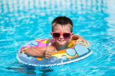 Beautiful time spending in waterpool during family vacation — Stock Photo