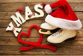 Christmas set of skates — Stockfoto