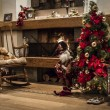Постер, плакат: Classic Christmas house interior with fireplace and Christmas tr