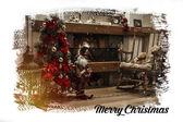 暖炉とクリスマス ツリーのクリスマス カード — ストック写真
