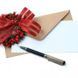 Christmas greeting card with pen — Stock Photo #59205497