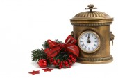 Vintage clock and Christmas decorations isolated — Stock Photo