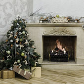 Christmas decorated tree with burning fireplace — Foto de Stock
