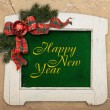 Happy new year text template, framed and decorated — Stock Photo #60463883