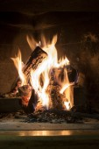 Burning fireplace closeup background — Stock Photo