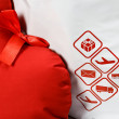 Courier delivery symbols and red heart closeup — Stock Photo #63126037