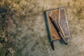 Aged book with pen, retro style — Stock Photo