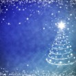 Christmas blue background with snowflakes frame and Christmas tr — Stock Photo #57679221