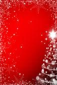Vánoční červené pozadí s rámem sněhové vločky a vánoční tre — Stock fotografie