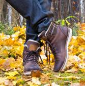 Autumn leather boots — Foto de Stock