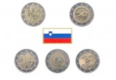Collection of commemorative coins of Slovenia — Stock Photo