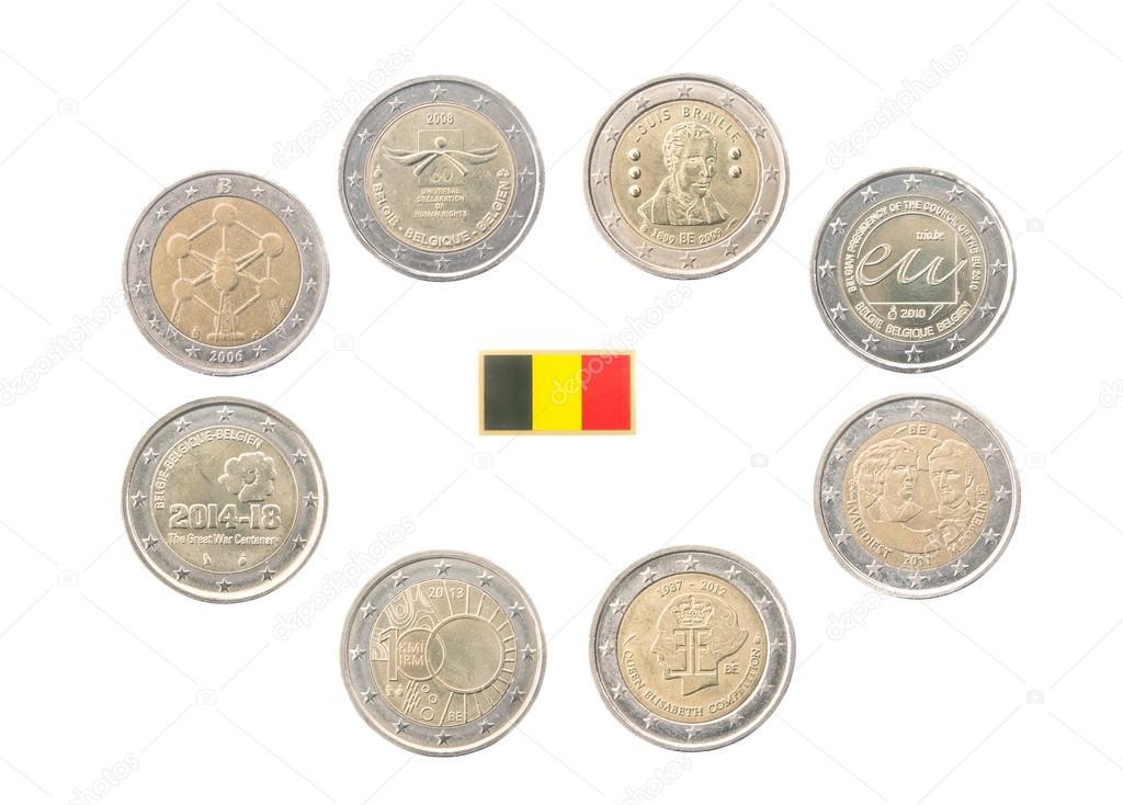 Conjunto de moedas de euro comemorativas 2 da b lgica - Stock piastrelle 2 euro ...