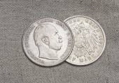 Old silver coins of German reich — Stock Photo