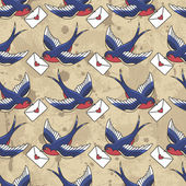 Old school pattern with birds and letters. — Stock Vector