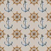 Pattern with anchors and ship's wheels — Stock vektor