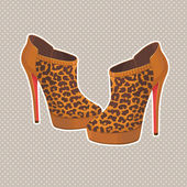 Shoes in leopard print — Stock Vector