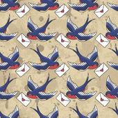 Old school patroon met vogels en/of letters — Stockvector