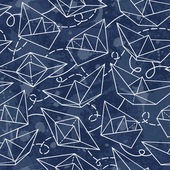 Pattern with paper ships — Stock Vector