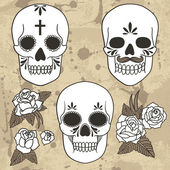 Day of the dead. Set of skulls. — Stock Vector