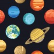 Seamless pattern from solar system planets — Stock Vector #57111885