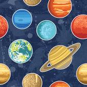 Бесшовный фон из планет солнечной системы — Cтоковый вектор