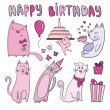 Birthday card with funny cats — Stock Vector #66722327