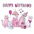 Birthday card with funny cats — Stock Vector #66722509