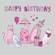 Birthday card with funny cats — Stock Vector #66722657