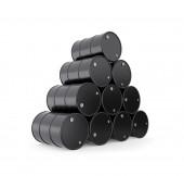 Pilha de barris de óleo preto — Fotografia Stock