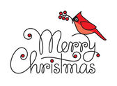 Merry christmas hand lettering with red robin bird and branch — ストックベクタ