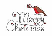Merry christmas text hand lettering with bullfinch and branch — Vector de stock