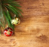 Christmas decoration on a woodwn board — Stock Photo