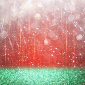 Background of red and green bokeh lights. christmas concept — Photo
