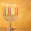 Menorah with candels and glitter lights background. hanukkah concept — Stock Photo #54223465