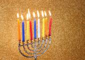 Menorah with candels and glitter lights background. hanukkah concept — Stock Photo
