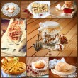 Homemade baking collage with cookies, fresh bread, apple pie and muffins — Stock Photo #54466671