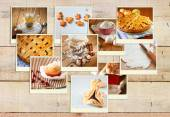 Homemade baking collage with cookies, fresh bread, apple pie and muffins over wooden background. — ストック写真