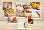 Homemade baking collage with cookies, fresh bread, apple pie and muffins over wooden background. — Stockfoto