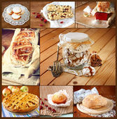 Homemade baking collage with cookies, fresh bread, apple pie and muffins — Stok fotoğraf