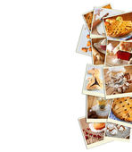 Homemade baking collage with cookies, fresh bread, apple pie and muffins. — Stok fotoğraf