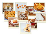 Homemade baking collage with cookies, fresh bread, apple pie and muffins. — Foto de Stock
